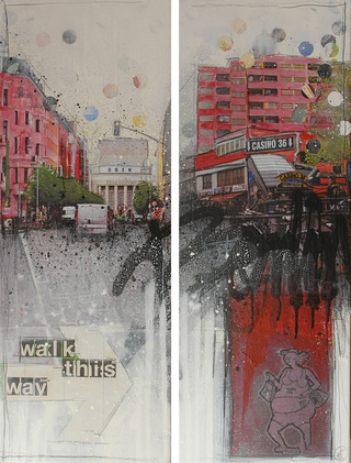 "Mrs More ""WALK THIS WAY-Berlin"" mixed media, canvas, diptychon 100 x 30 cm"